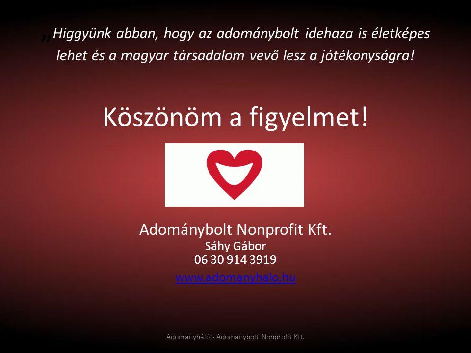 """"""" Higgyünk abban, hogy az adománybolt idehaza is életképes lehet és a magyar társadalom vevő lesz a jótékonyságra! Köszönöm a figyelmet! Adománybolt N"""