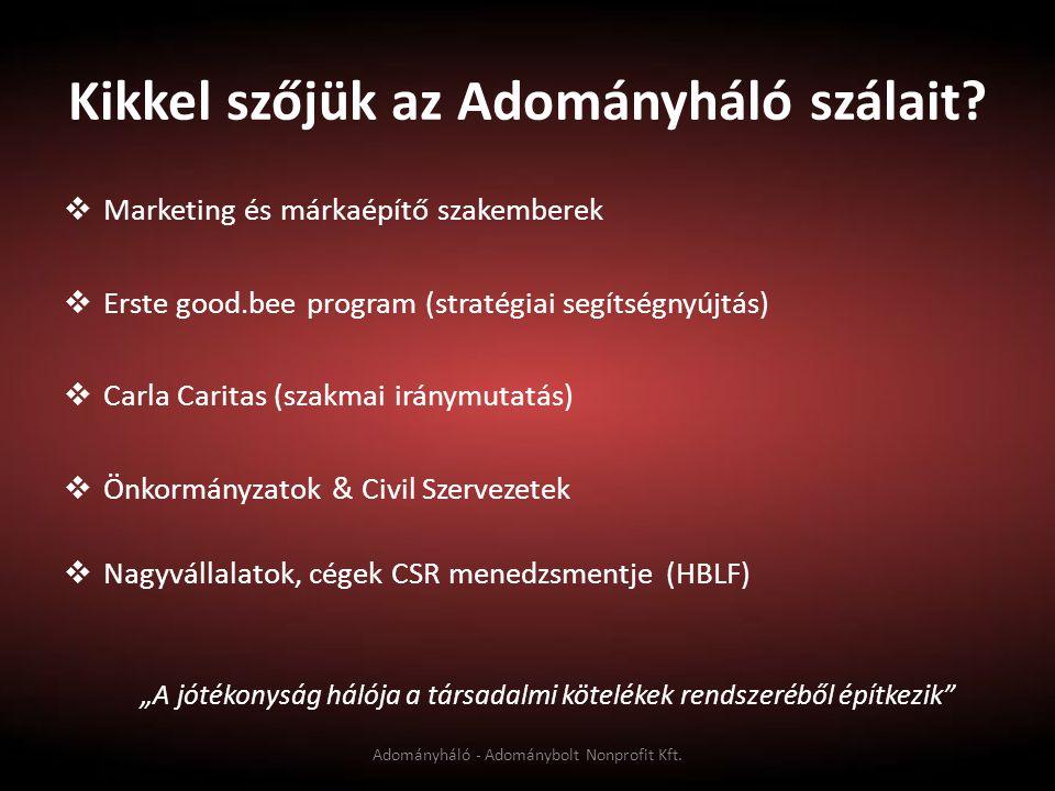 Kikkel szőjük az Adományháló szálait?  Marketing és márkaépítő szakemberek  Erste good.bee program (stratégiai segítségnyújtás)  Carla Caritas (sza