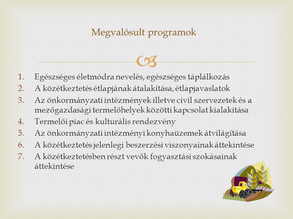  1.Egészséges életmódra nevelés, egészséges táplálkozás 2.A közétkeztetés étlapjának átalakítása, étlapjavaslatok 3.Az önkormányzati intézmények illetve civil szervezetek és a mezőgazdasági termelőhelyek közötti kapcsolat kialakítása 4.Termelői piac és kulturális rendezvény 5.Az önkormányzati intézményi konyhaüzemek átvilágítása 6.A közétkeztetés jelenlegi beszerzési viszonyainak áttekintése 7.A közétkeztetésben részt vevők fogyasztási szokásainak áttekintése Megvalósult programok