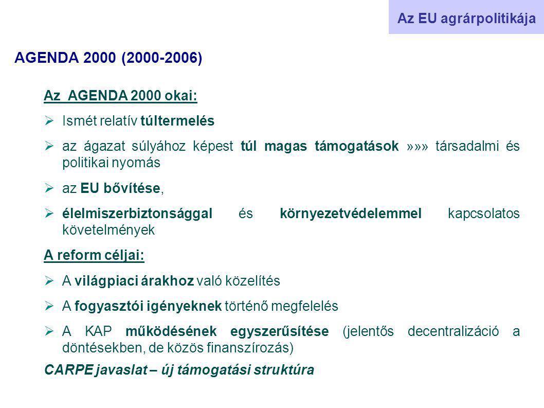 AGENDA 2000 (2000-2006) Az EU agrárpolitikája Az AGENDA 2000 okai:  Ismét relatív túltermelés  az ágazat súlyához képest túl magas támogatások »»» társadalmi és politikai nyomás  az EU bővítése,  élelmiszerbiztonsággal és környezetvédelemmel kapcsolatos követelmények A reform céljai:  A világpiaci árakhoz való közelítés  A fogyasztói igényeknek történő megfelelés  A KAP működésének egyszerűsítése (jelentős decentralizáció a döntésekben, de közös finanszírozás) CARPE javaslat – új támogatási struktúra