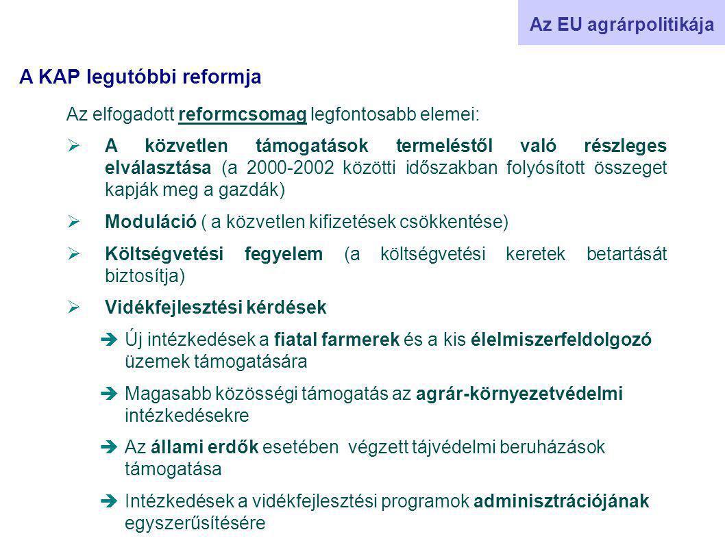 Az elfogadott reformcsomag legfontosabb elemei:  A közvetlen támogatások termeléstől való részleges elválasztása (a 2000-2002 közötti időszakban folyósított összeget kapják meg a gazdák)  Moduláció ( a közvetlen kifizetések csökkentése)  Költségvetési fegyelem (a költségvetési keretek betartását biztosítja)  Vidékfejlesztési kérdések  Új intézkedések a fiatal farmerek és a kis élelmiszerfeldolgozó üzemek támogatására  Magasabb közösségi támogatás az agrár-környezetvédelmi intézkedésekre  Az állami erdők esetében végzett tájvédelmi beruházások támogatása  Intézkedések a vidékfejlesztési programok adminisztrációjának egyszerűsítésére Az EU agrárpolitikája