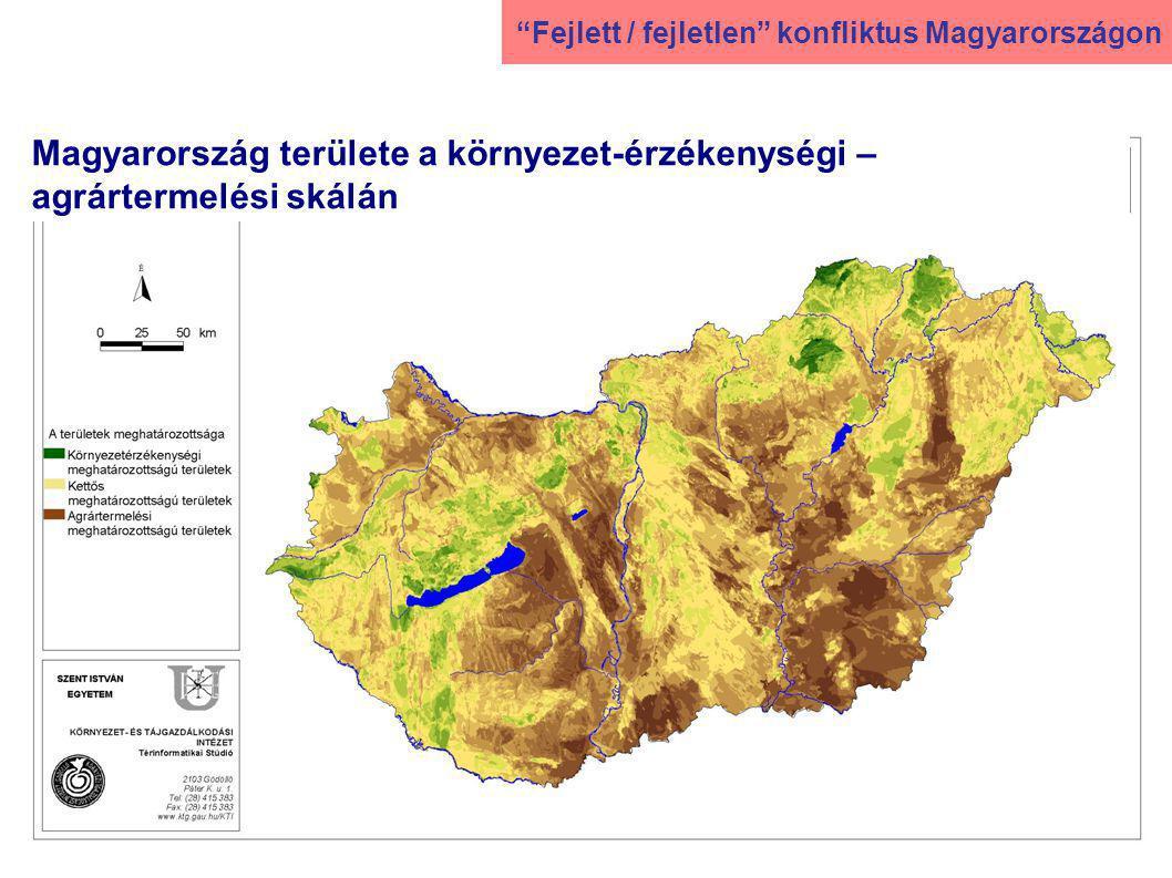 Magyarország területe a környezet-érzékenységi – agrártermelési skálán Fejlett / fejletlen konfliktus Magyarországon