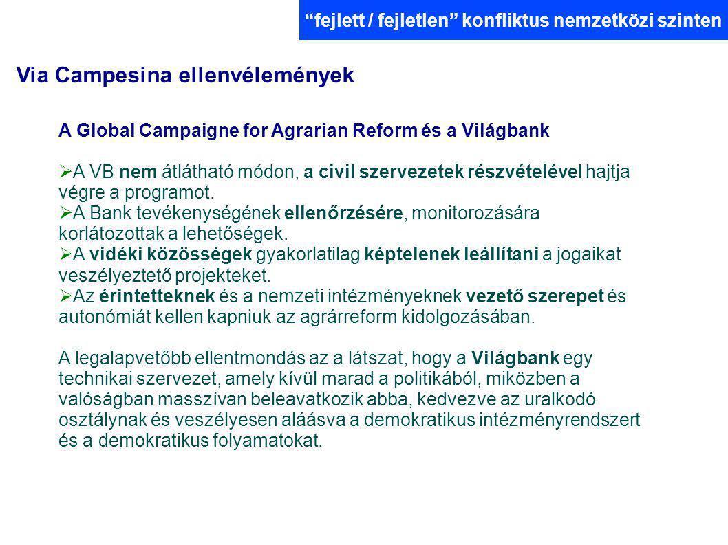 Via Campesina ellenvélemények fejlett / fejletlen konfliktus nemzetközi szinten A Global Campaigne for Agrarian Reform és a Világbank  A VB nem átlátható módon, a civil szervezetek részvételével hajtja végre a programot.