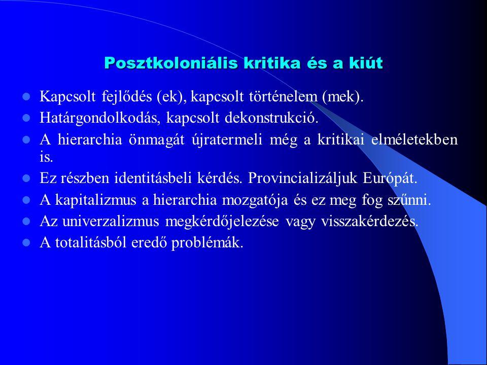 Posztkoloniális kritika és a kiút Kapcsolt fejlődés (ek), kapcsolt történelem (mek).