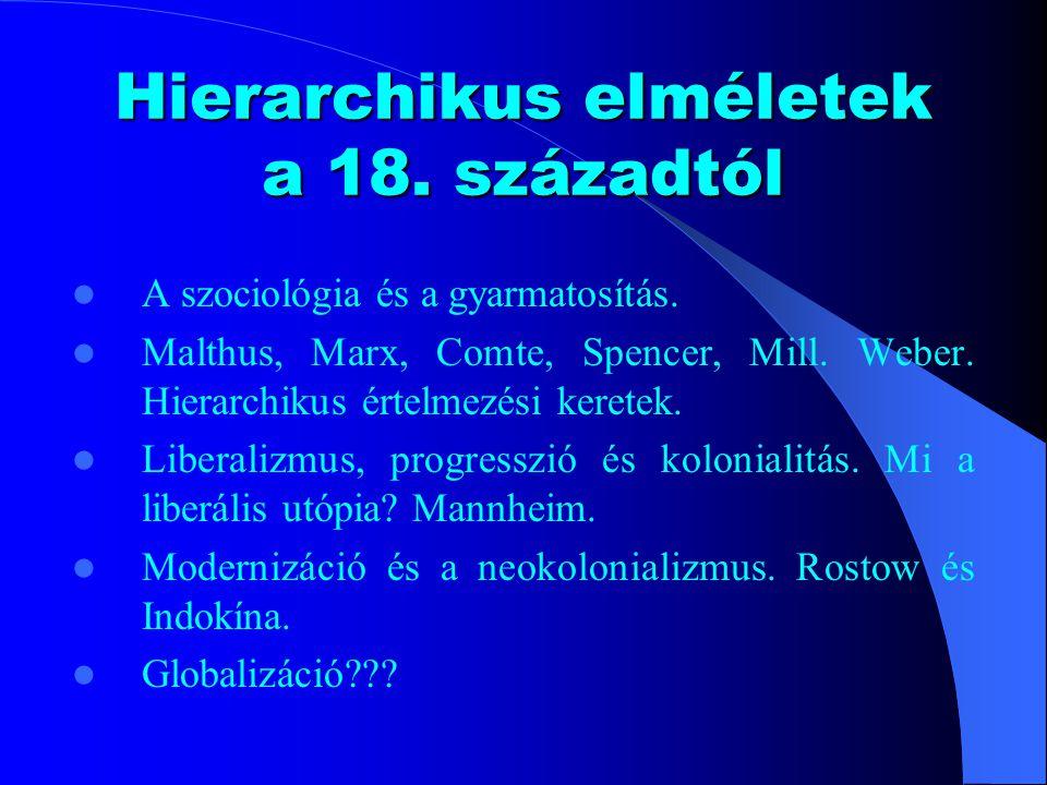 Hierarchikus elméletek a 18. századtól A szociológia és a gyarmatosítás.