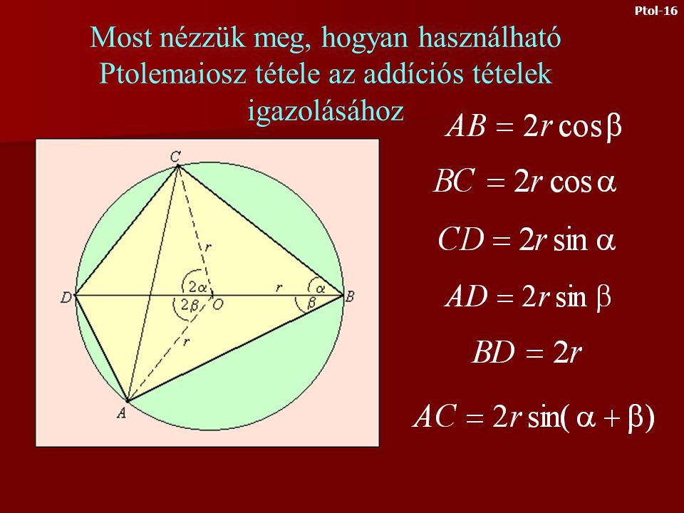 Ezt és a 4. egyenletet felhasználva kapjuk: Az 3. egyenletből: Az első két egyenletből: Ptol-15