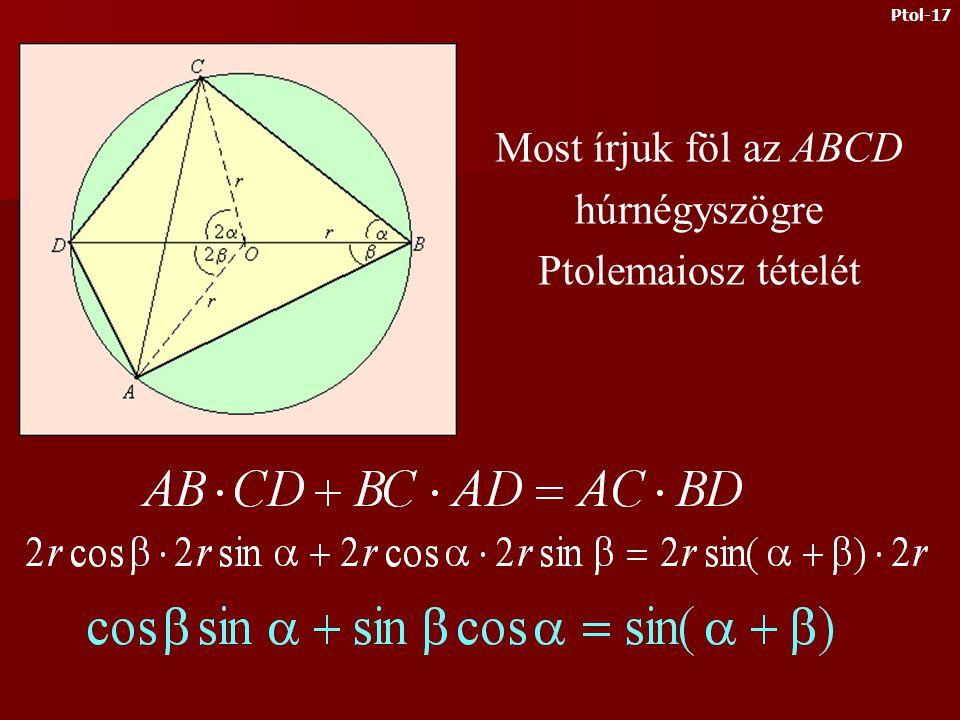 Most nézzük meg, hogyan használható Ptolemaiosz tétele az addíciós tételek igazolásához Ptol-16