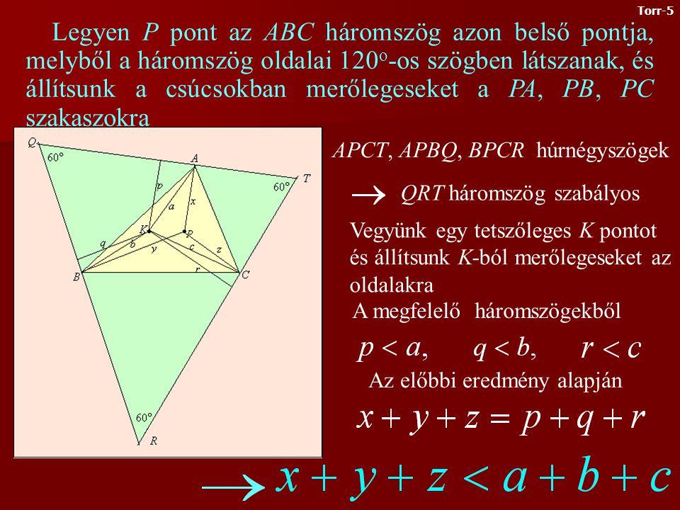 Először megmutatjuk, hogy a szabályos háromszög bármely belső P pontjából az oldalakra állított merőleges szakaszok hosszának összege állandó (azaz független a P pont választásától).
