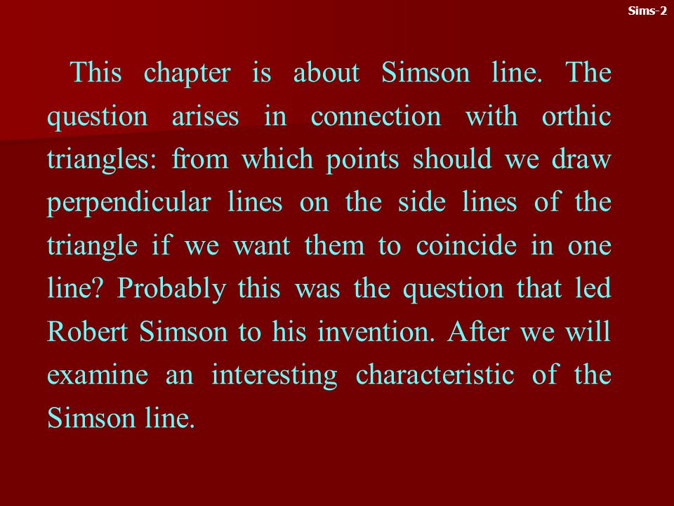 This chapter is about Simson line.