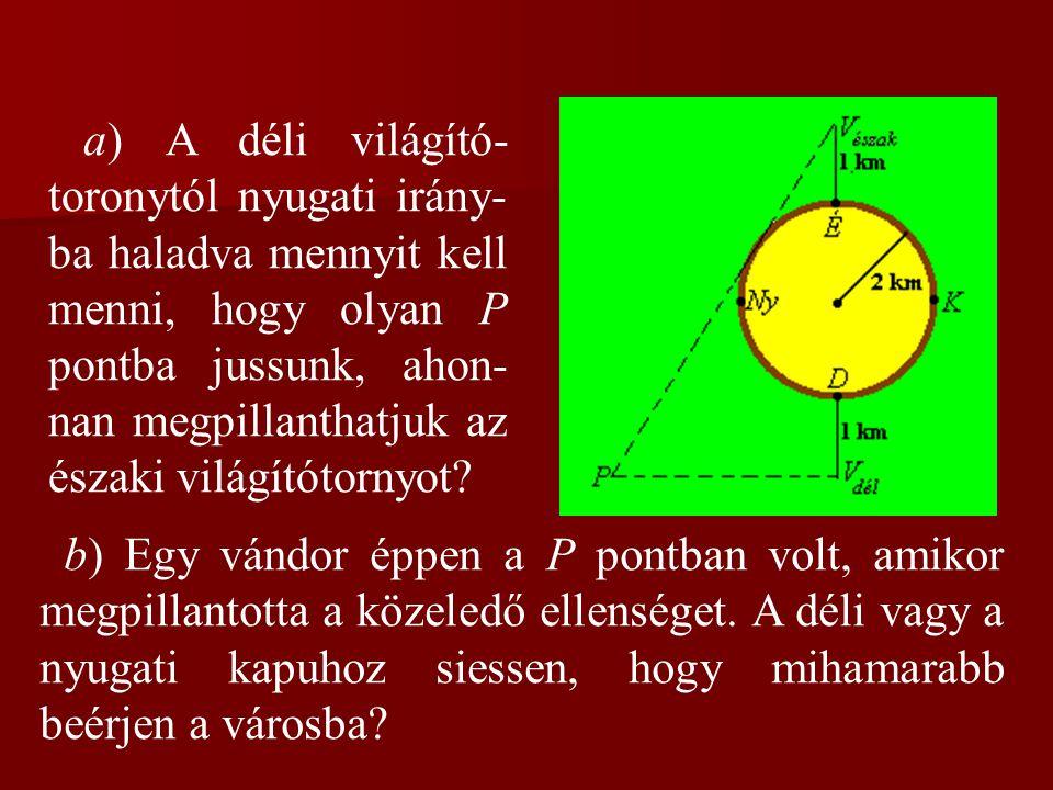 a) A déli világító- toronytól nyugati irány- ba haladva mennyit kell menni, hogy olyan P pontba jussunk, ahon- nan megpillanthatjuk az északi világító
