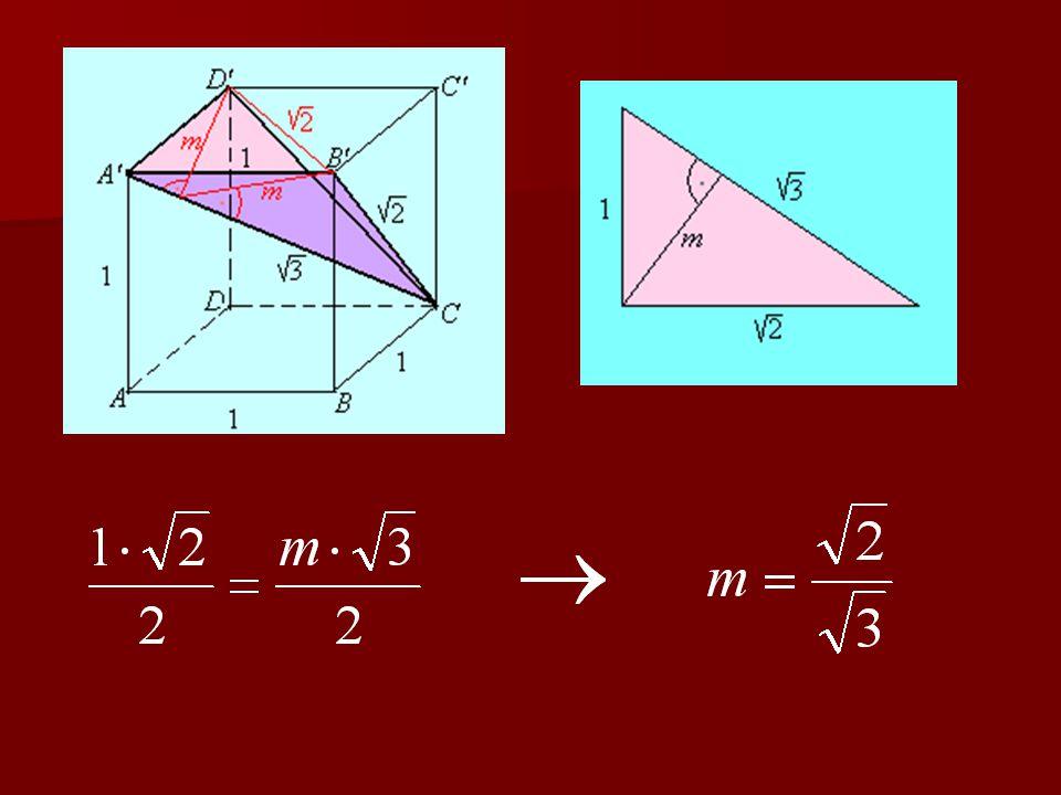 Az így kapott test térfogatát a kérdéses sík felezi, vagyis a sík alatti térfogat: Így az eredeti kockának a sík feletti térfogata: A keresett arány: