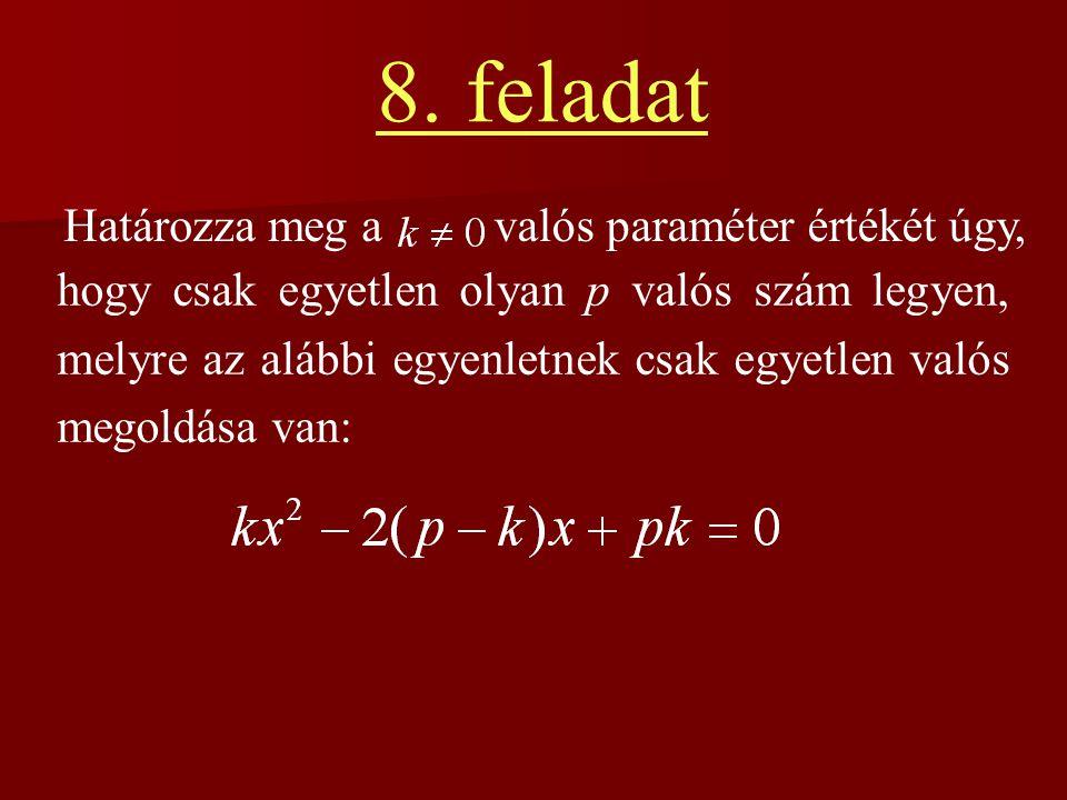 8. feladat Határozza meg a hogy csak egyetlen olyan p valós szám legyen, melyre az alábbi egyenletnek csak egyetlen valós megoldása van: valós paramét