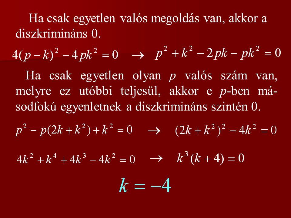 Ha csak egyetlen valós megoldás van, akkor a diszkrimináns 0. Ha csak egyetlen olyan p valós szám van, melyre ez utóbbi teljesül, akkor e p-ben má- so