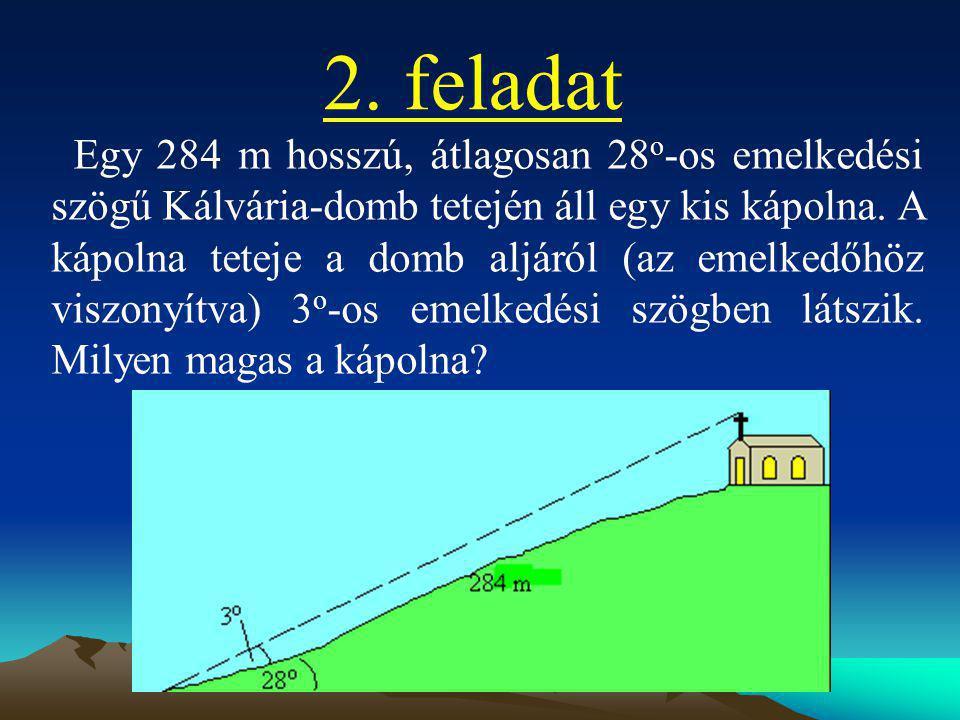2. feladat Egy 284 m hosszú, átlagosan 28 o -os emelkedési szögű Kálvária-domb tetején áll egy kis kápolna. A kápolna teteje a domb aljáról (az emelke