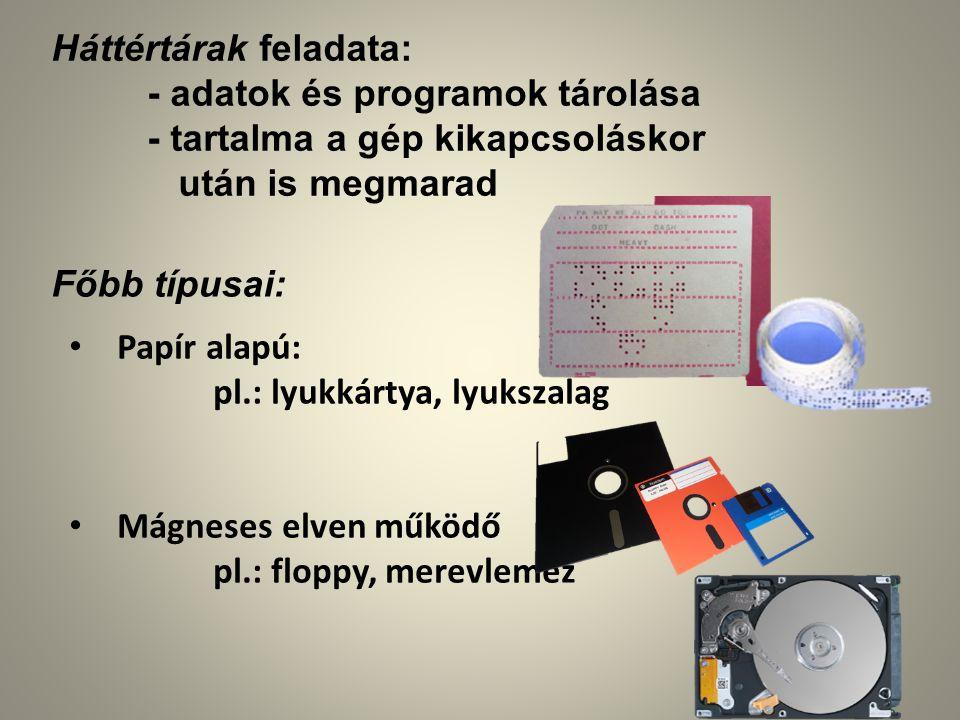 Optikai elven működő pl.: CD, DVD, Blu-Ray Elektronikus pl.: memória kártya pen drive ssd