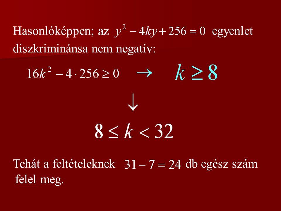 Hasonlóképpen;egyenlet diszkriminánsa nem negatív: Tehát a feltételeknekdb egész szám felel meg.