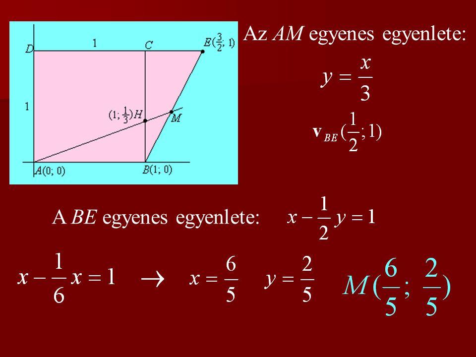 Az AM egyenes egyenlete: A BE egyenes egyenlete: