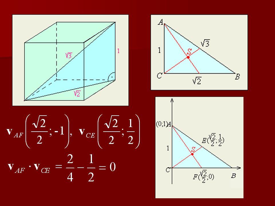 Bizonyítsuk be, hogy a kocka egy éle, lap- átlója és testátlója olyan háromszöget határoznak meg, melynek van két merőleges súlyvonala! 3. feladat