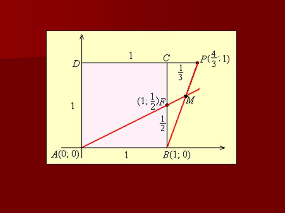 4. feladat Az ABCD egységnyi oldalú négyzet BC oldalának felezőpontja F. A CD oldalt meghosszabbítottuk C-n túl a nesek M metszéspontja illeszkedik a