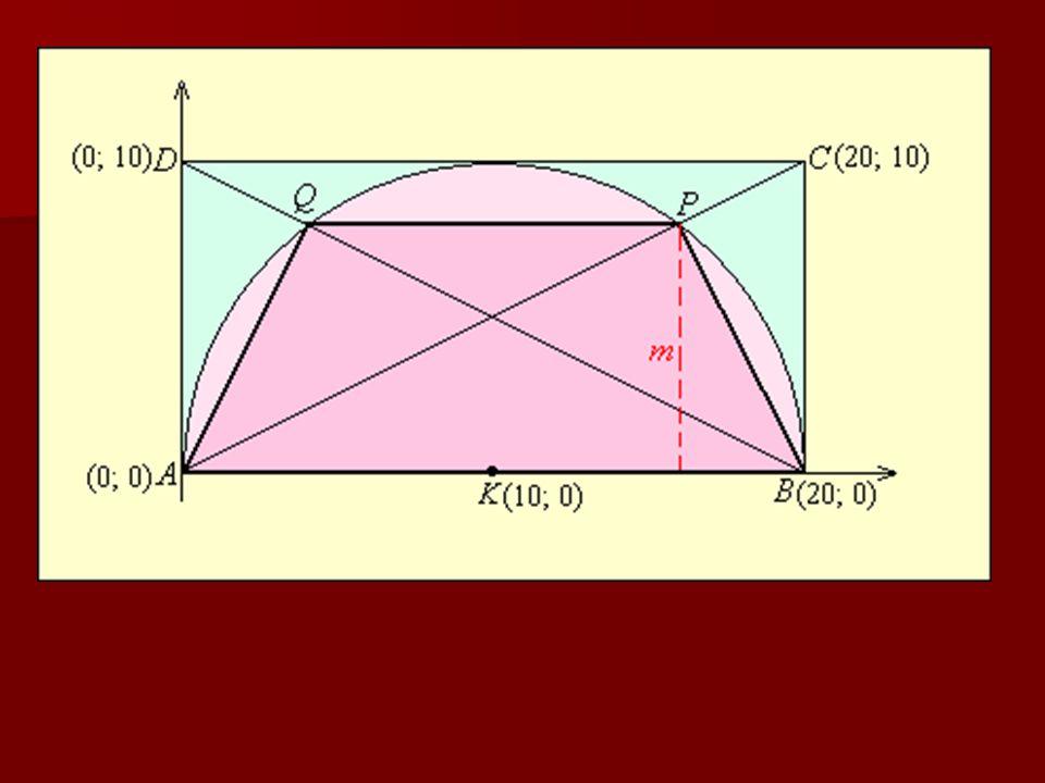 1. feladat (házi feladat) Az ABCD téglalap oldalai: AD = 10 cm, AB = 20 cm. Az AB oldalra, mint átmérőre emeltünk egy félkört a téglalap belseje felé.