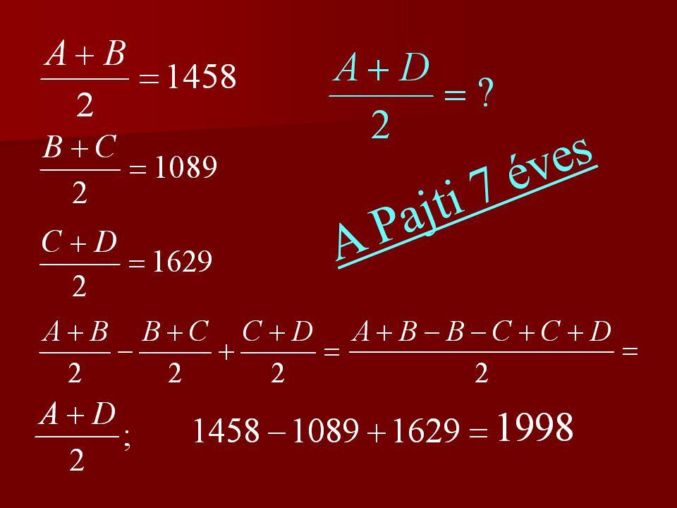 4.feladat Az A és B számok számtani közepe: Mátyás trónralépésének éve.