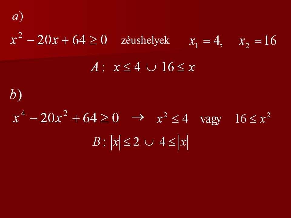 2.feladat Legyen A halmaz az a), B halmaz pedig a b) kifejezés értelmezési tartománya.