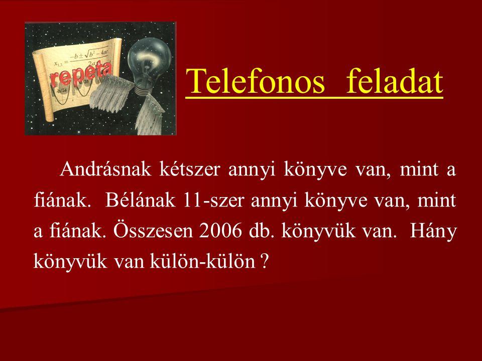 Telefonos feladat Andrásnak kétszer annyi könyve van, mint a fiának.