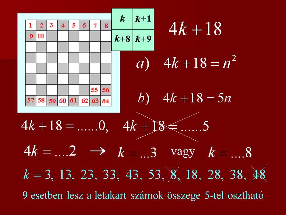 vagy 9 esetben lesz a letakart számok összege 5-tel osztható