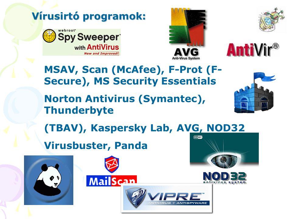 MSAV, Scan (McAfee), F-Prot (F- Secure), MS Security Essentials Norton Antivirus (Symantec), Thunderbyte (TBAV), Kaspersky Lab, AVG, NOD32 Virusbuster, Panda Vírusirtó programok: