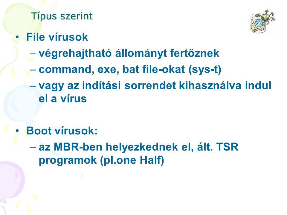 Típus szerint File vírusok –végrehajtható állományt fertőznek –command, exe, bat file-okat (sys-t) –vagy az indítási sorrendet kihasználva indul el a vírus Boot vírusok: –az MBR-ben helyezkednek el, ált.