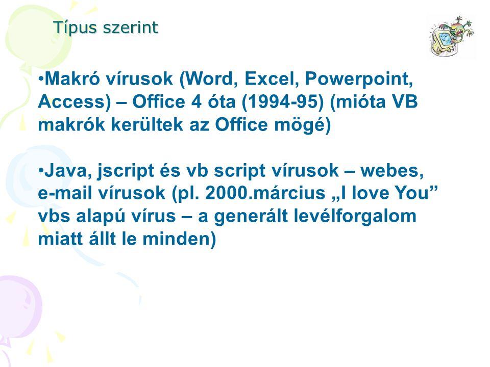 Makró vírusok (Word, Excel, Powerpoint, Access) – Office 4 óta (1994-95) (mióta VB makrók kerültek az Office mögé) Java, jscript és vb script vírusok – webes, e-mail vírusok (pl.