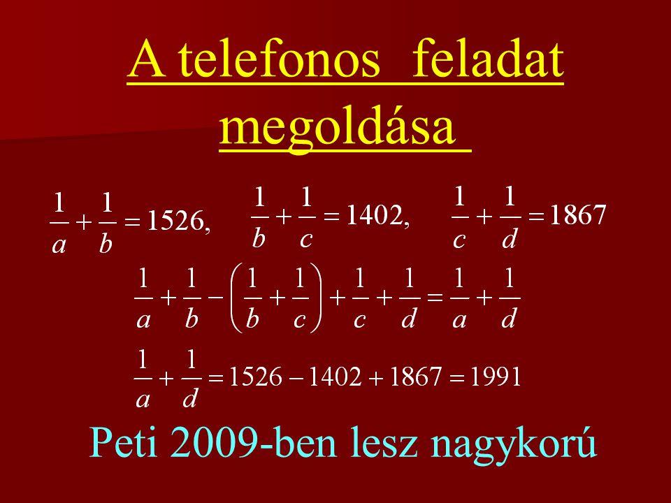 5. feladat (házi feladat) Egy háromszög két oldala a és b, a közbezárt szög 120 o. Bizonyítsa be, hogy e szög f szögfelezőjére