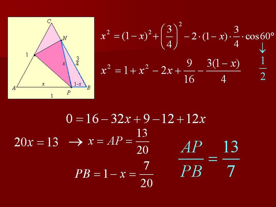 3. feladat Egy étteremben a papírszalvétát úgy hajtották össze, hogy az ABC szabályos háromszög alakú szalvéta A csúcsa a BC szár N negyedelő pontjába