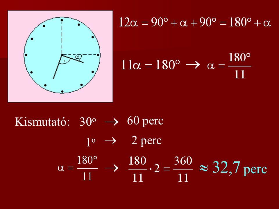 1. feladat (házi feladat) Pontban 3 órakor az óra mutatói éppen merő- legesek egymásra.