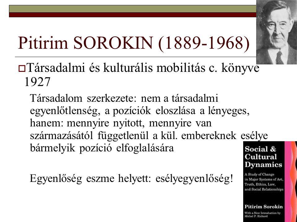 7 Pitirim SOROKIN (1889-1968)  Társadalmi és kulturális mobilitás c. könyve 1927 Társadalom szerkezete: nem a társadalmi egyenlőtlenség, a pozíciók e