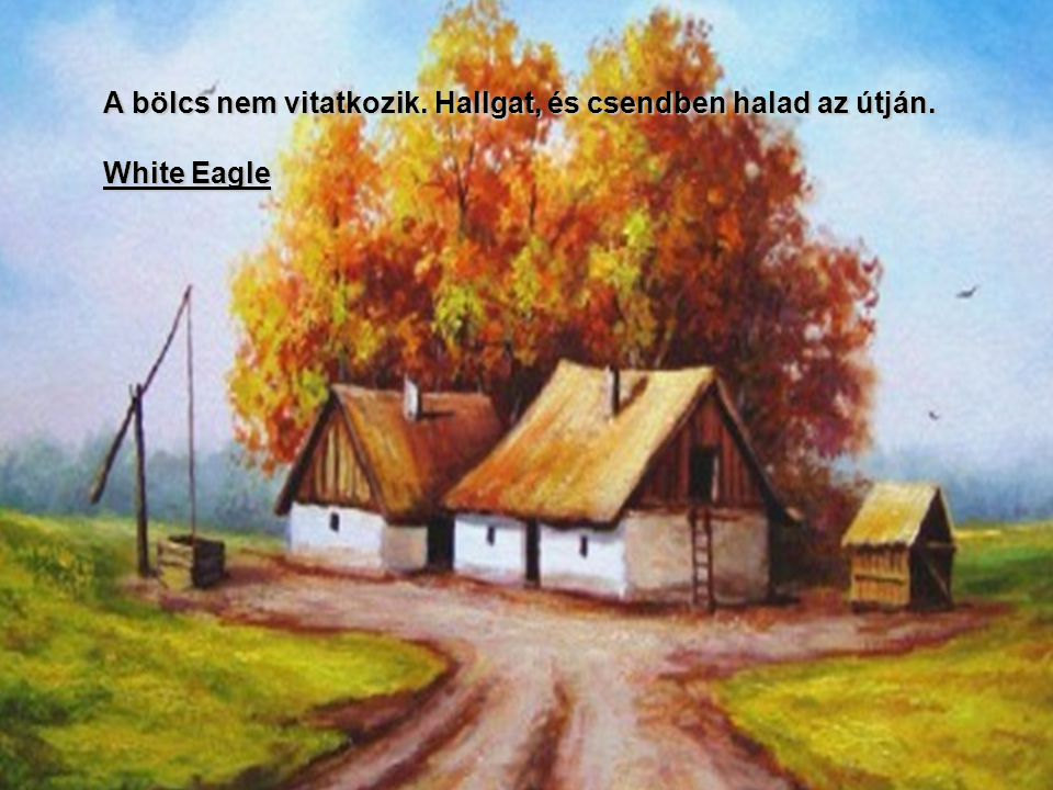 A bölcs nem vitatkozik. Hallgat, és csendben halad az útján. White Eagle