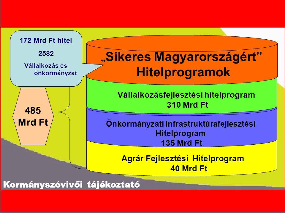 """Agrár Fejlesztési Hitelprogram 40 Mrd Ft Önkormányzati Infrastruktúrafejlesztési Hitelprogram 135 Mrd Ft 485 Mrd Ft Vállalkozásfejlesztési hitelprogram 310 Mrd Ft """" Sikeres Magyarországért Hitelprogramok 172 Mrd Ft hitel 2582 Vállalkozás és önkormányzat"""