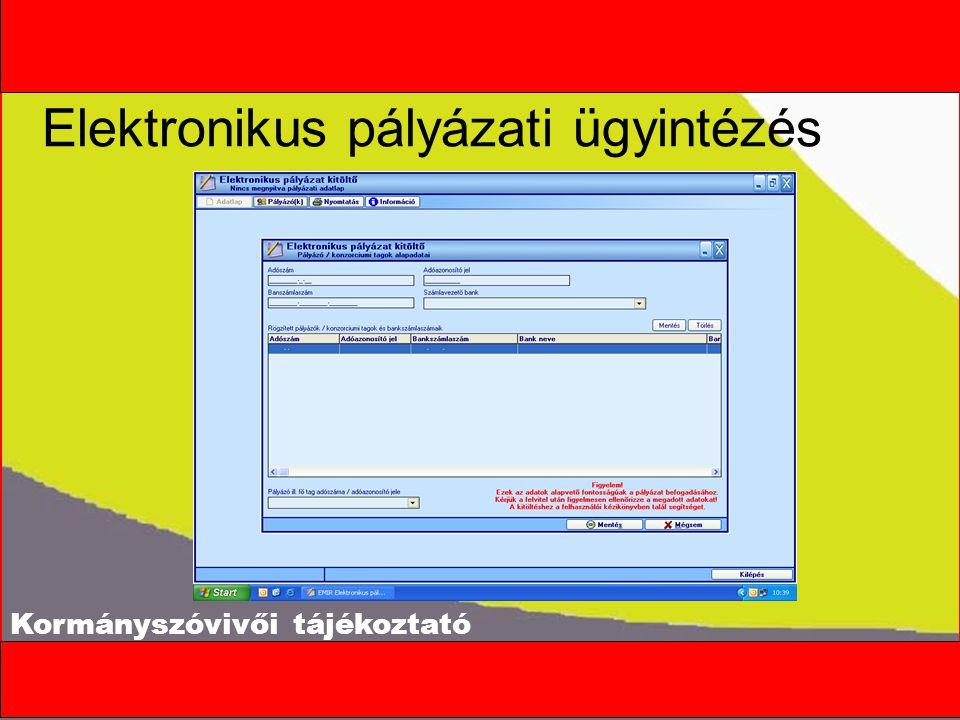 Kormányszóvivői tájékoztató Elektronikus pályázati ügyintézés