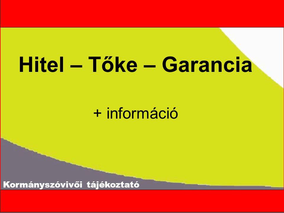 Kormányszóvivői tájékoztató Hitel – Tőke – Garancia + információ