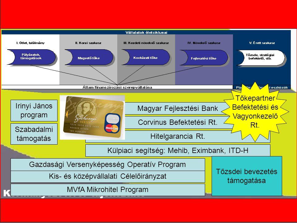 """Kormányszóvivői tájékoztató A cégalapítás megkönnyítése Védjegybejegyzési támogatás Hitel Tőke 1.""""Magvető 2.Kockázati 3.Fejlesztési Garancia EU-s pályázatok (GVOP) Támogatás a tőzsdei bevezetéshez Külpiaci segítség Létszámbővítéshez kapcsolódó járulékterhek elengedése Az ötlettől a megvalósításig"""
