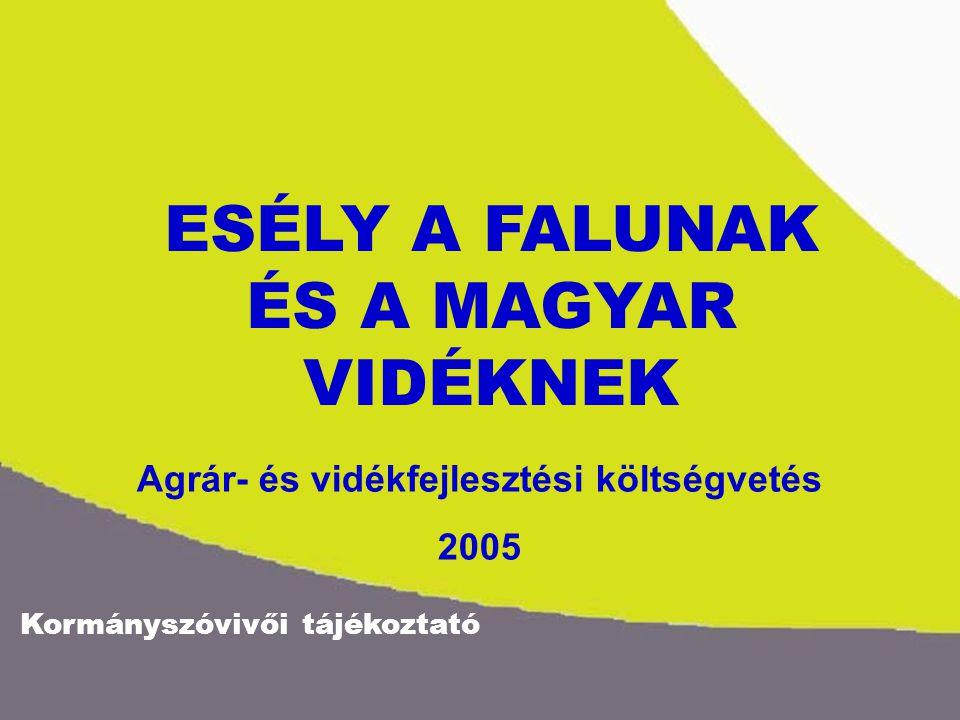 ESÉLY A FALUNAK ÉS A MAGYAR VIDÉKNEK Agrár- és vidékfejlesztési költségvetés 2005