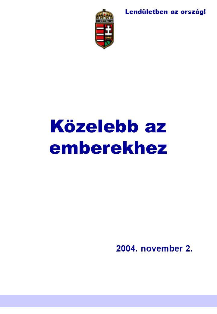 Lendületben az ország! Nemzeti Területfejlesztési Hivatal Közelebb az emberekhez 2004. november 2.