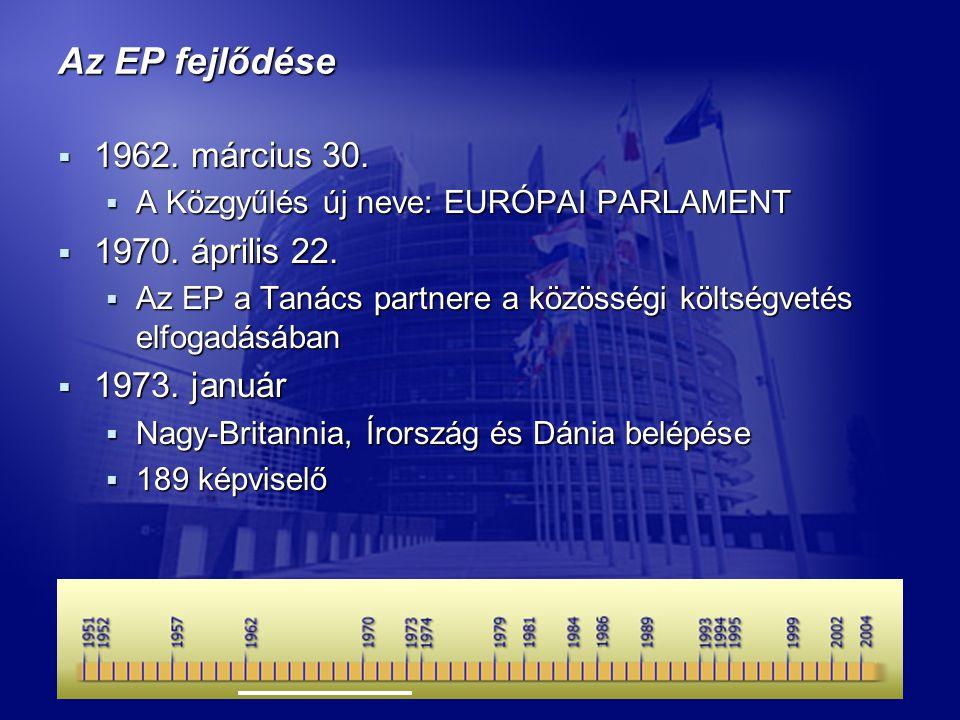 Az EP fejlődése  1962. március 30.  A Közgyűlés új neve: EURÓPAI PARLAMENT  1970.