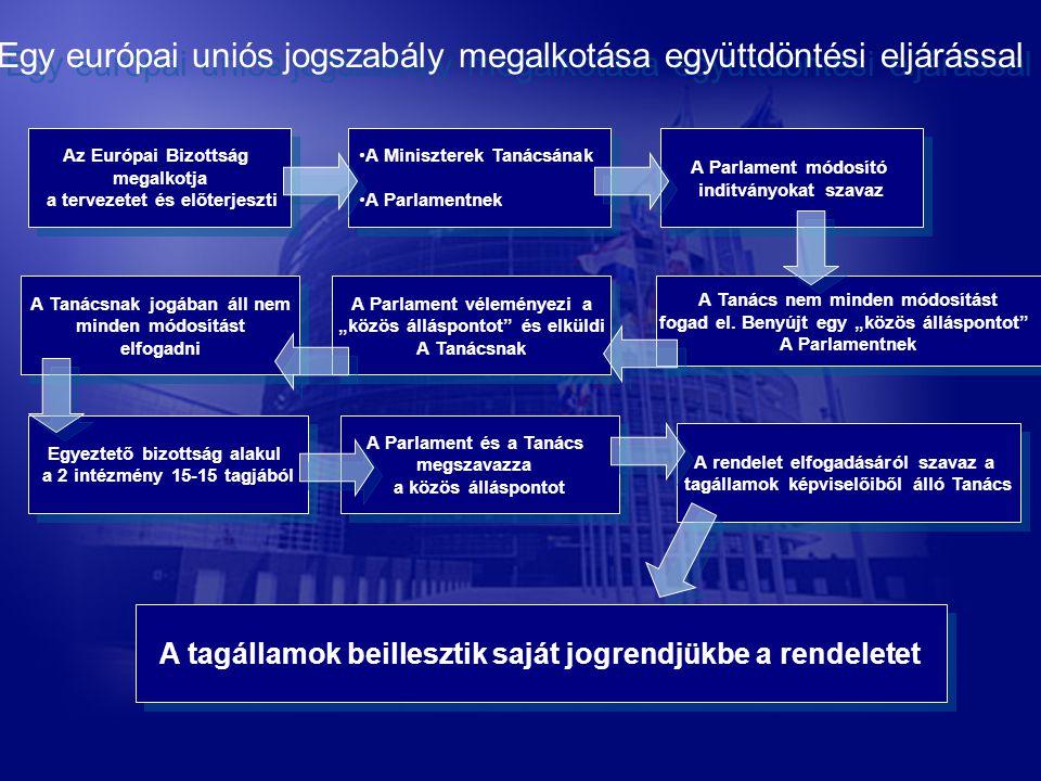 Az Európai Bizottság megalkotja a tervezetet és előterjeszti Az Európai Bizottság megalkotja a tervezetet és előterjeszti A Miniszterek Tanácsának A Parlamentnek A Miniszterek Tanácsának A Parlamentnek A Parlament módosító indítványokat szavaz A Parlament módosító indítványokat szavaz A Tanács nem minden módosítást fogad el.