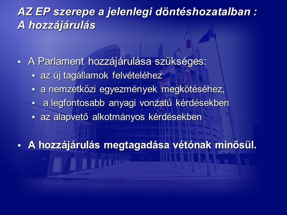 AZ EP szerepe a jelenlegi döntéshozatalban : A hozzájárulás  A Parlament hozzájárulása szükséges:  az új tagállamok felvételéhez  a nemzetközi egyezmények megkötéséhez,  a legfontosabb anyagi vonzatú kérdésekben  az alapvető alkotmányos kérdésekben  A hozzájárulás megtagadása vétónak minősül.