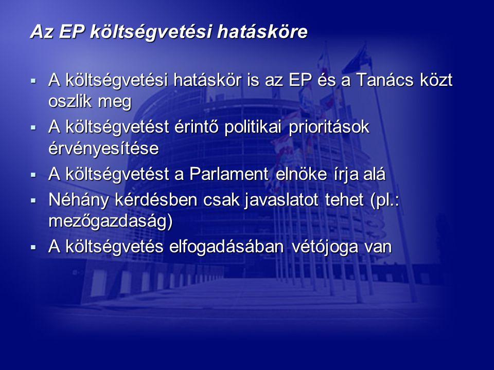 Az EP költségvetési hatásköre  A költségvetési hatáskör is az EP és a Tanács közt oszlik meg  A költségvetést érintő politikai prioritások érvényesítése  A költségvetést a Parlament elnöke írja alá  Néhány kérdésben csak javaslatot tehet (pl.: mezőgazdaság)  A költségvetés elfogadásában vétójoga van