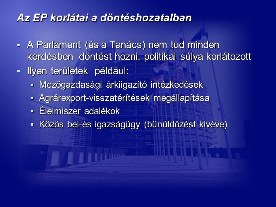 Az EP korlátai a döntéshozatalban  A Parlament (és a Tanács) nem tud minden kérdésben döntést hozni, politikai súlya korlátozott  Ilyen területek például:  Mezőgazdasági árkiigazító intézkedések  Agrárexport-visszatérítések megállapítása  Élelmiszer adalékok  Közös bel-és igazságügy (bűnüldözést kivéve)