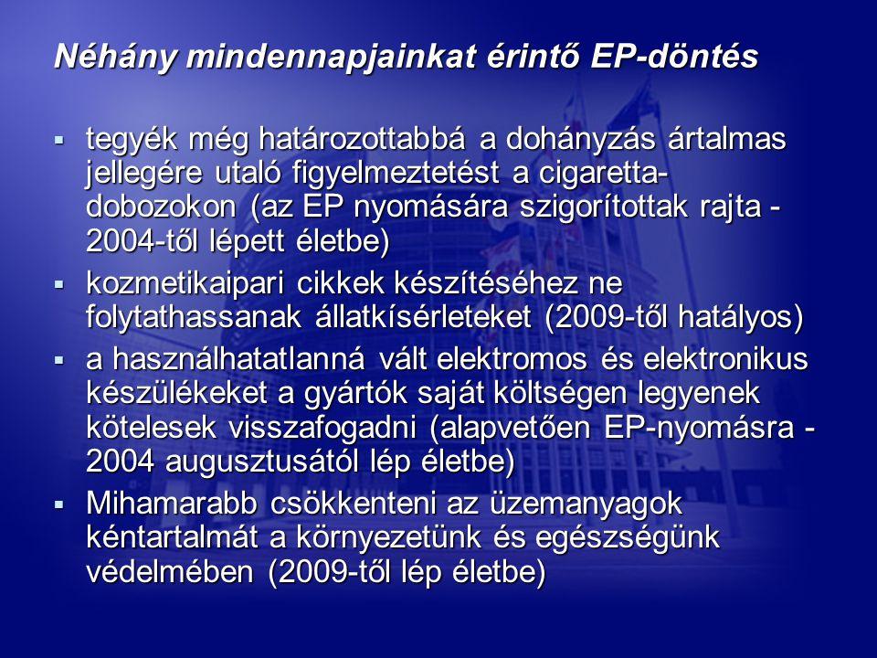 Néhány mindennapjainkat érintő EP-döntés  tegyék még határozottabbá a dohányzás ártalmas jellegére utaló figyelmeztetést a cigaretta- dobozokon (az EP nyomására szigorítottak rajta - 2004-től lépett életbe)  kozmetikaipari cikkek készítéséhez ne folytathassanak állatkísérleteket (2009-től hatályos)  a használhatatlanná vált elektromos és elektronikus készülékeket a gyártók saját költségen legyenek kötelesek visszafogadni (alapvetően EP-nyomásra - 2004 augusztusától lép életbe)  Mihamarabb csökkenteni az üzemanyagok kéntartalmát a környezetünk és egészségünk védelmében (2009-től lép életbe)