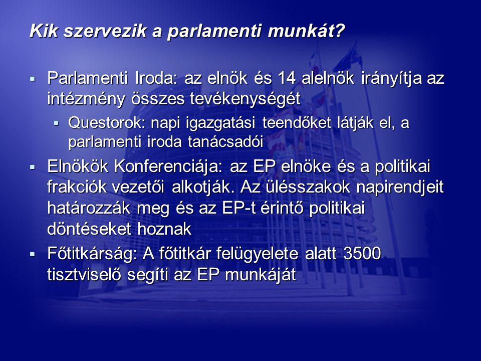 Kik szervezik a parlamenti munkát.
