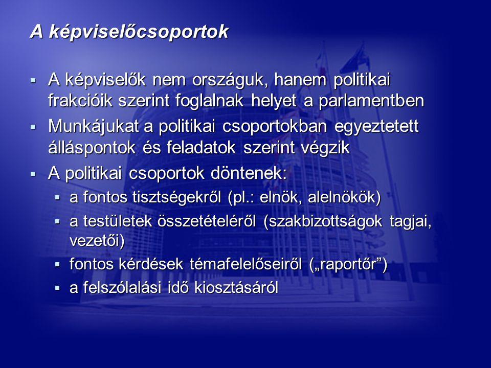 """A képviselőcsoportok  A képviselők nem országuk, hanem politikai frakcióik szerint foglalnak helyet a parlamentben  Munkájukat a politikai csoportokban egyeztetett álláspontok és feladatok szerint végzik  A politikai csoportok döntenek:  a fontos tisztségekről (pl.: elnök, alelnökök)  a testületek összetételéről (szakbizottságok tagjai, vezetői)  fontos kérdések témafelelőseiről (""""raportőr )  a felszólalási idő kiosztásáról"""